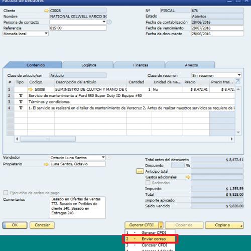 Envío automático de facturas